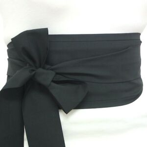 Fabric-black-cotton-OBI-belt-Japanese-geisha-kimono-style-waist-sash-tie-ribbon