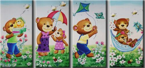 Childrens Room Art 25x51cm each Large Original Prints on Canvas Lovely Bears