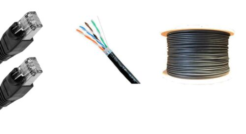 350/'FT CAT-6 23AWG OUTDOOR PATCH 600MHz BLACK SHIELDED STP CABLE UV ETHERNET