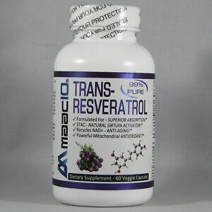 Maac10 Trans Resveratrol 500mg Micronized Pharmaceutical Grade 60