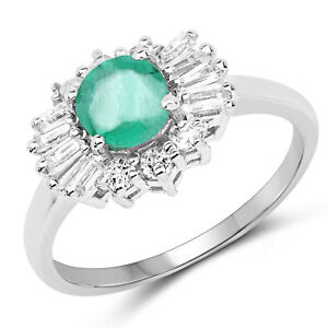 1 59 Ct Genuine Zambian Emerald Amp White Topaz 925 Sterling