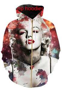 marilyn monroe3D print Zipper Hoodies Sweatshirt Jacket Menwomen Sports Coat Top