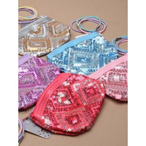 Girls Sequins Zip Purse Pretty Cute Sparkly 4 Elastics Great For Party Bags