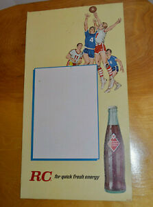 VINTAGE-RC-COLA-CARDBOARD-SIGN-ADVERTISING-ROYAL-CROWN-20-034-X-11-034-BASKETBALL