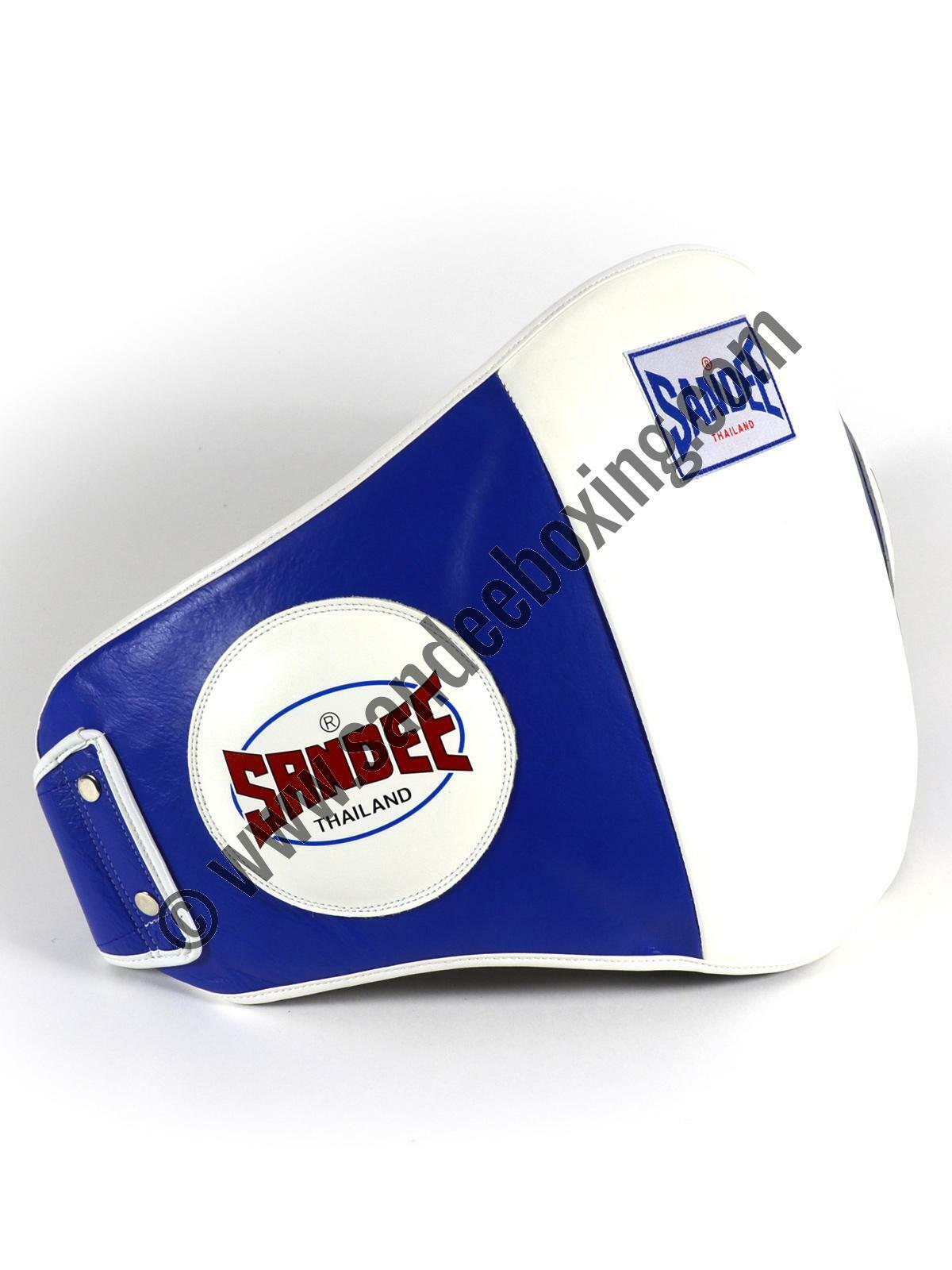 Sandee Velcro bluee & White Leather Belly Pad Muay Thai Boxing MMA UFC