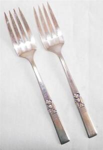 2 Morgenstern Silverplate Abendessen Gabeln Gabel Oneida Community Bestecke 1948