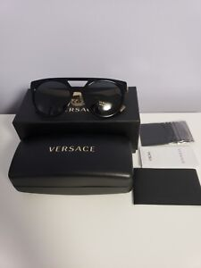 637a0381f2844 Brand New VERSACE Sunglasses MOD 4339 5248 87 Black Gold  Gray For ...