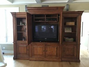 Image Is Loading Used Hooker TV Entertainment Center With Bookcase Cabinet