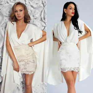 Womens-Deep-V-Neck-Formal-Evening-Party-Lace-Bodycon-Cocktail-Prom-Gown-Dress