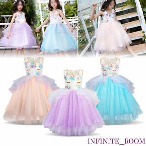 6c67cb037875 Kids Baby Flower Girls Party Unicorn Dress Wedding Bridesmaid Tutu ...