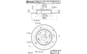 BREMBO-Juego-de-2-discos-freno-Trasero-260mm-HONDA-CIVIC-08-A147-10
