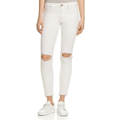 DL1961 Womens Margaux White Denim Skinny Distressed Ankle Jeans 29 BHFO 5094