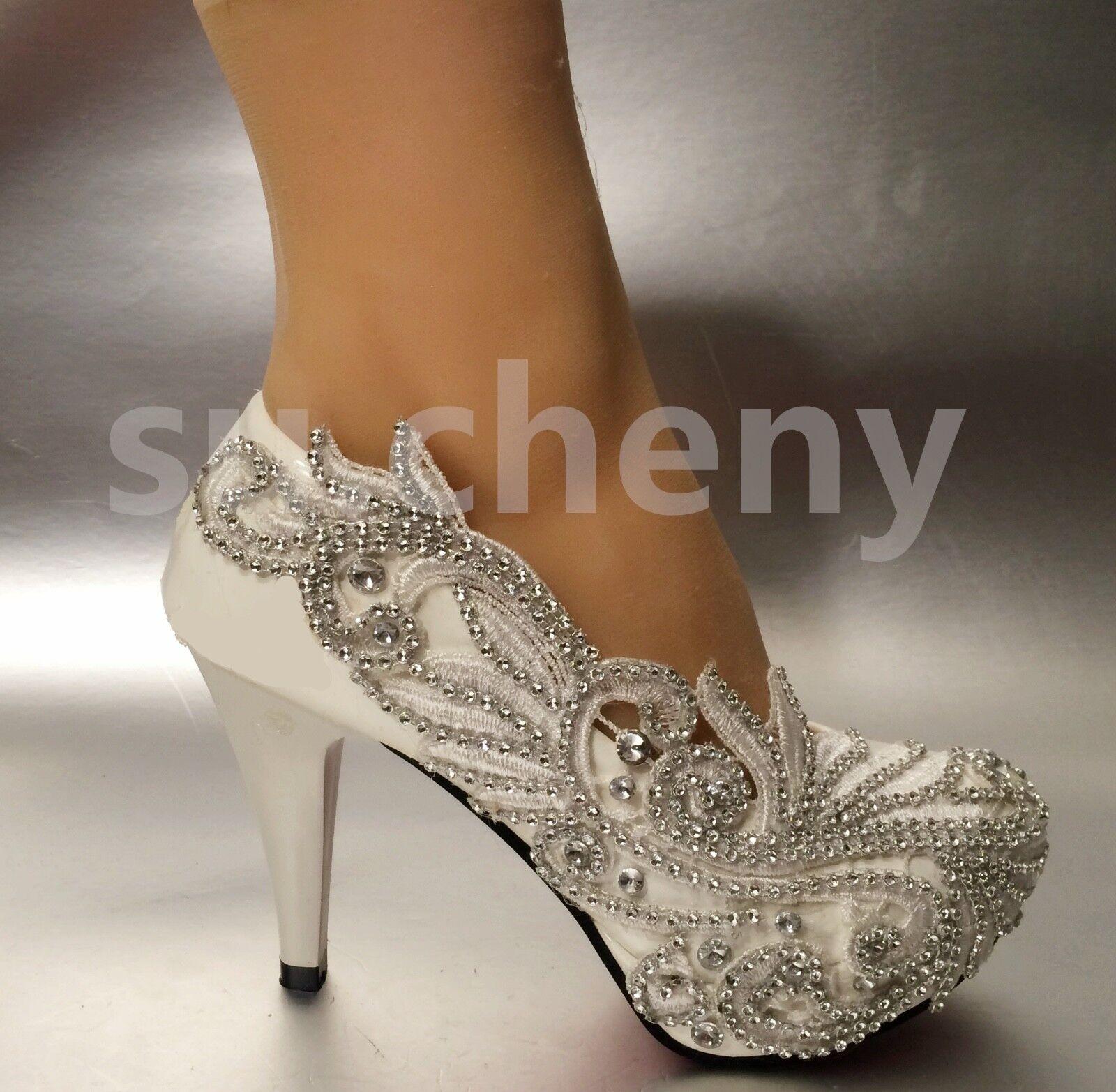 WEISS ivory crystal pumps Wedding schuhe Bridal high low wedges heels Größe 5-12