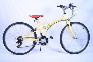 "SP26S/_LAV NEW COLUMBA 26/"" Folding Bike Shimano 18 Speed Light Yellow Color"