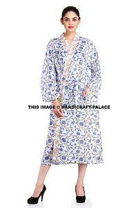 100 Cotton Ladies Bathrobe Indian Hand Print Kimono Gown