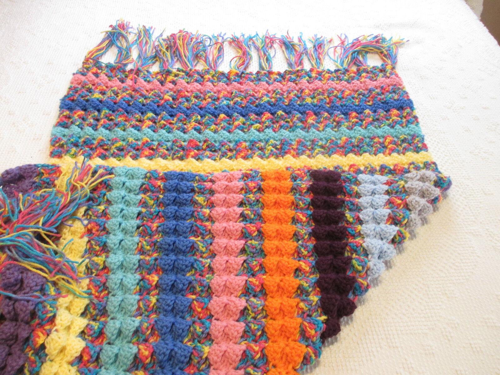 Handmade YOUTH Shells Pattern Crochet Afghan Throw Blanket - New
