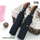 Luxury Mens Black Automatic 3 Folding Wooden Handle Anti-UV Rain Sun Umbrella