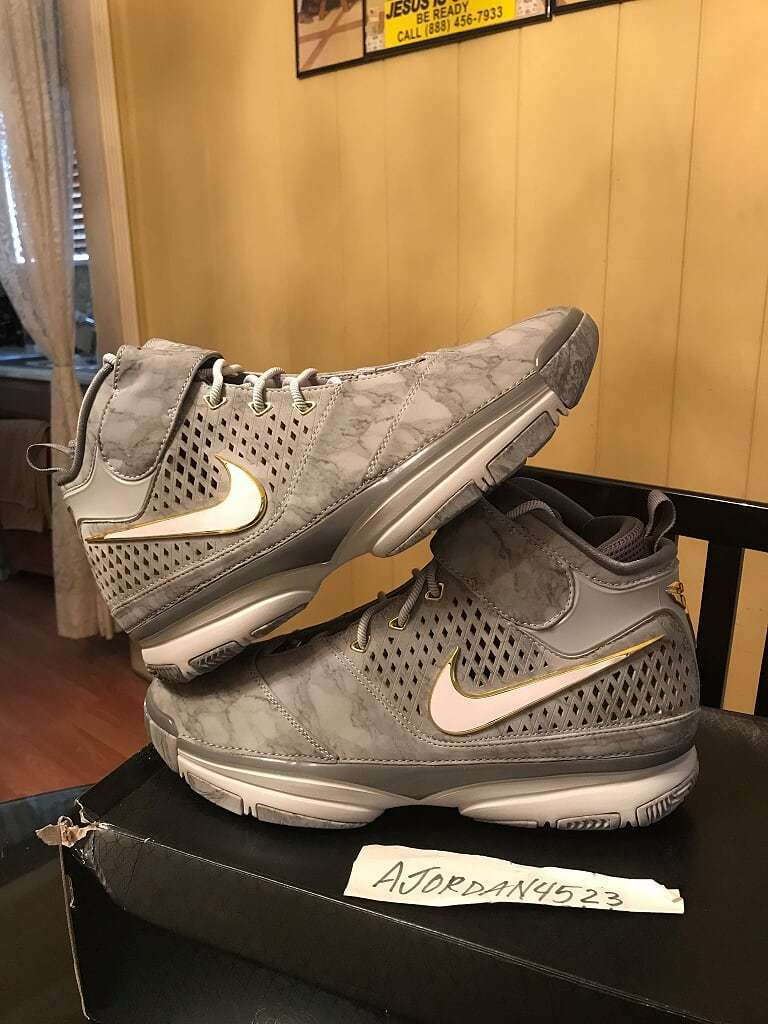Nike air zoom kobe preludio 2 ii grigio argento sergente oro sz 11,5 nuovo sergente argento mai indossato 996008