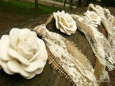 Wedding Natural Burlap Lace Ivory Rosettes Garland Bunting SHABBY Rustic Chic