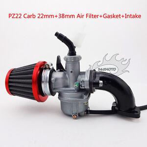 22mm-Carby-PZ22-Carburetor-Intake-Pipe-Air-Filter-For-110cc-125cc-Pit-Dirt-Bike