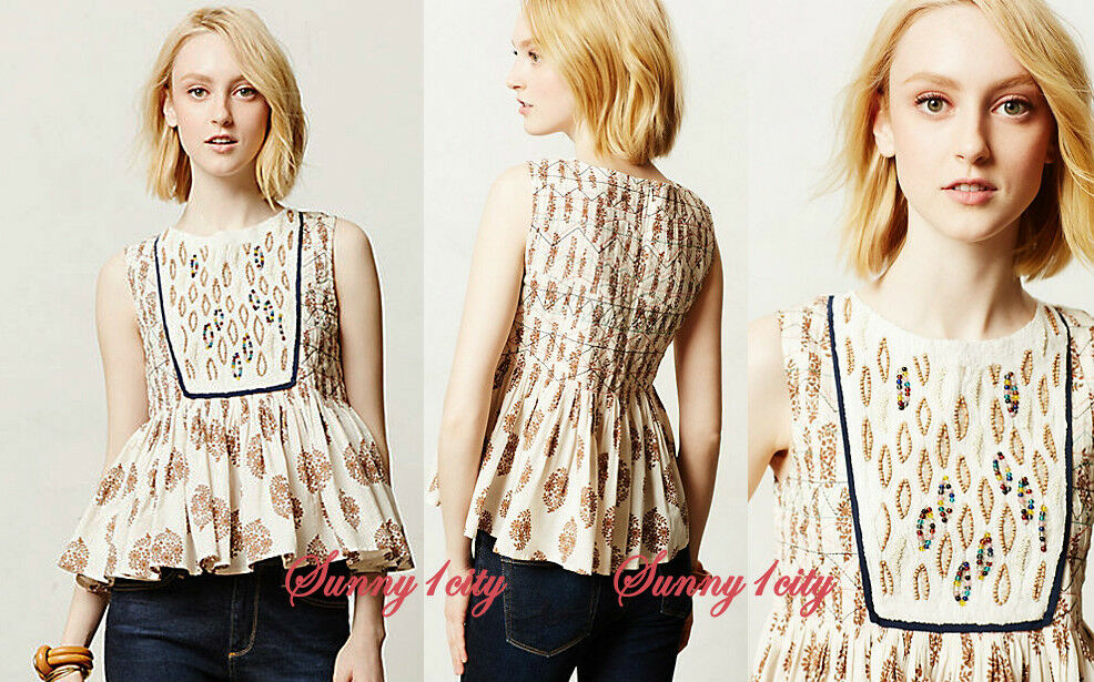 NEW S Anthropologie Medallon Peplum By Let Me Be, Unique Embroiderot, RARE ITEM