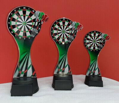 incl.Gravur Pokal Figur Dart Sport aus Metall,gold+silber