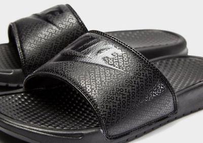 new concept 46f65 c6450 Nike Just Do It Benassi JDI Sliders Slides Mens Slip On Sandals Triple  Black | eBay