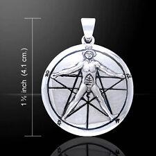 Sterling Silver 18mm 4g says Vitruvian Man Leonardo da Vinci Geometry Math Charm