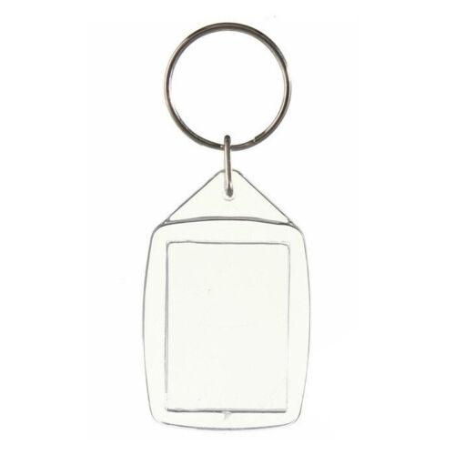 10x Clear Acrylic Plastic Blank Keyrings Insert Passport Photo Keychain Keyfo H2