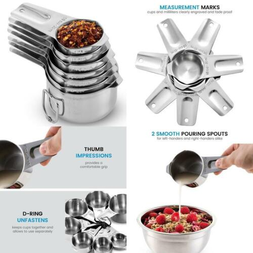 7-Piece Made Of 1 Solid Piece 18//8 Stainless Stainless Steel Measuring Cups