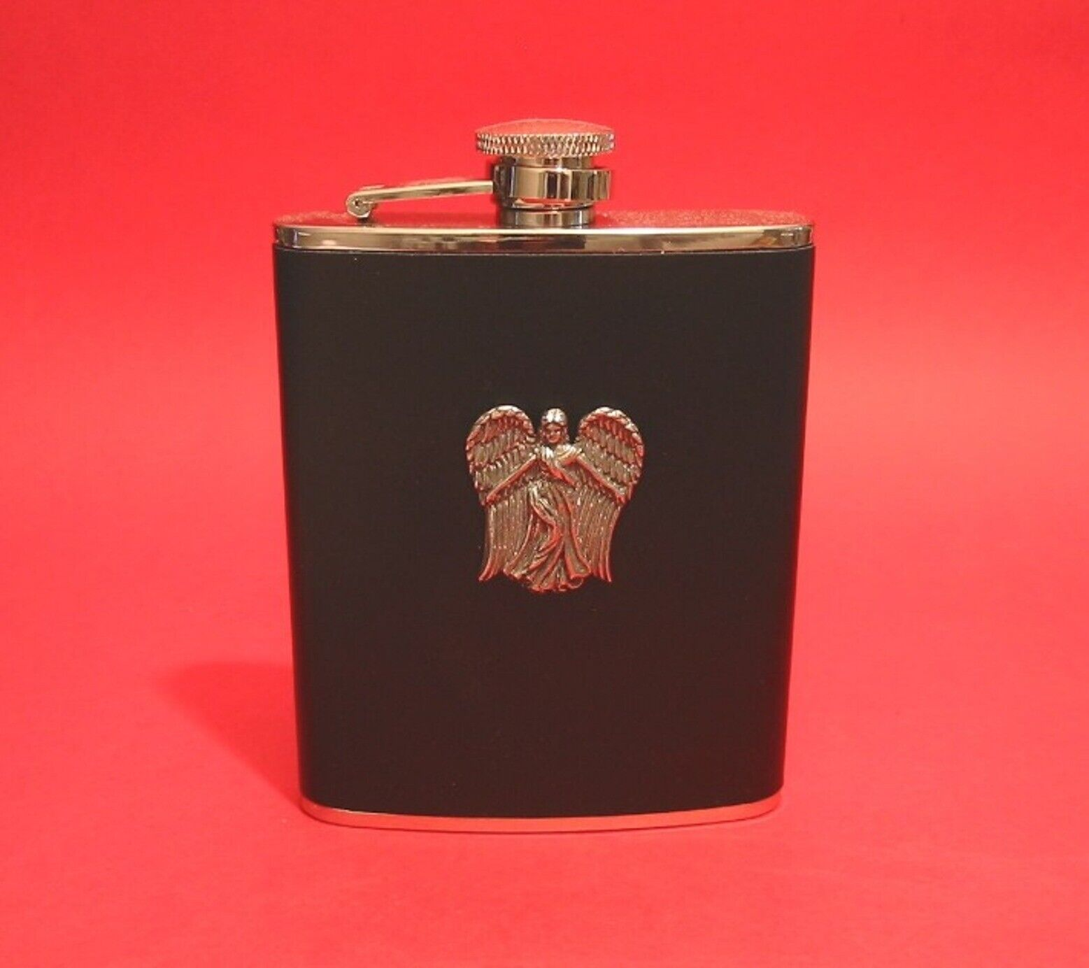 Guardian Angel Black Leather 6oz Hip Flask Good Luck Well Wishing Christmas Gift