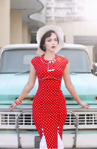 Stop Staring, BOMBSHELL Dress, Red w White Dots, Pinup, 30BMB-03 RDWDT