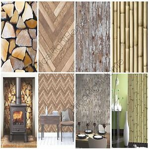 Details About Modern Wooden Wood Wallpaper Feature Wall Whole Room Various Designs Available