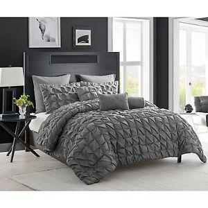 8 piece charcoal gray comforter set king size pintuck modern design bedding new ebay. Black Bedroom Furniture Sets. Home Design Ideas