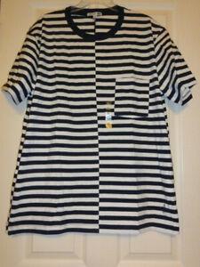 Uniqlo JW Anderson Navy White Stripes Pocket T Shirt Mens X-Large XL New w Tags