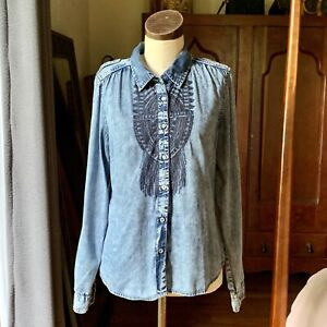 OVERDRIVE CLOTHING Native American Style Cotton Denim Shirt Button Up S/M
