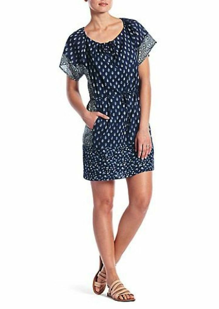 Lucky Brand Woherren M - NWT - Blau Bandana Print Cotton Tunic Shirt Dress