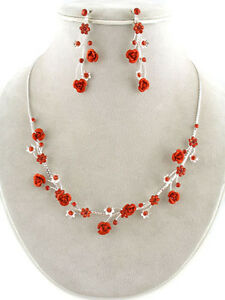 Necklaces & Pendants 4d Contemporary Bridemaid Siam Crystal & Red Metal Rose Floral Vine Necklace Set Neither Too Hard Nor Too Soft Handcrafted, Artisan Jewelry