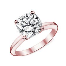 1.38CT 14k Rose Gold Cushion Cut Moissanite 4 Prong Solitaire Engagement Ring