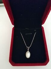 """Genuine 9mm White Freshwater Pearl Pendant Necklace 17"""" 925 Sliver Cultured"""
