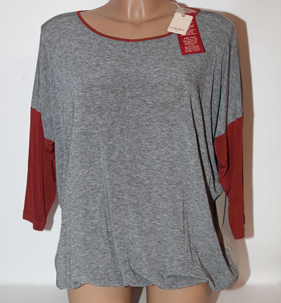 Maglia Kartika grigio bordeaux manica 3 4 42 donna blusa t shirt