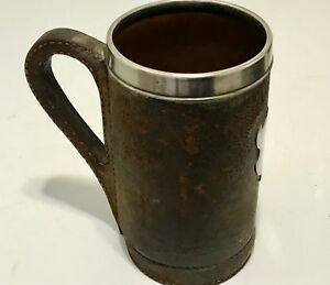 GORHAM-ANTIQUE-STERLING-SILVER-LEATHER-TANKARD-FROM-19-CENTURY-COPPER-INSIDE