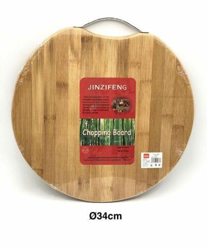 Tagliere Legno Naturale Con Manico Acciaio Tavola Affettare Tondo 34cm hmj