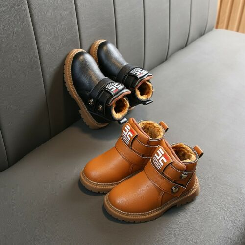 Toddler Children Baby Girls Boys Solid Tie Winter Warm Short Boots Casual Shoes