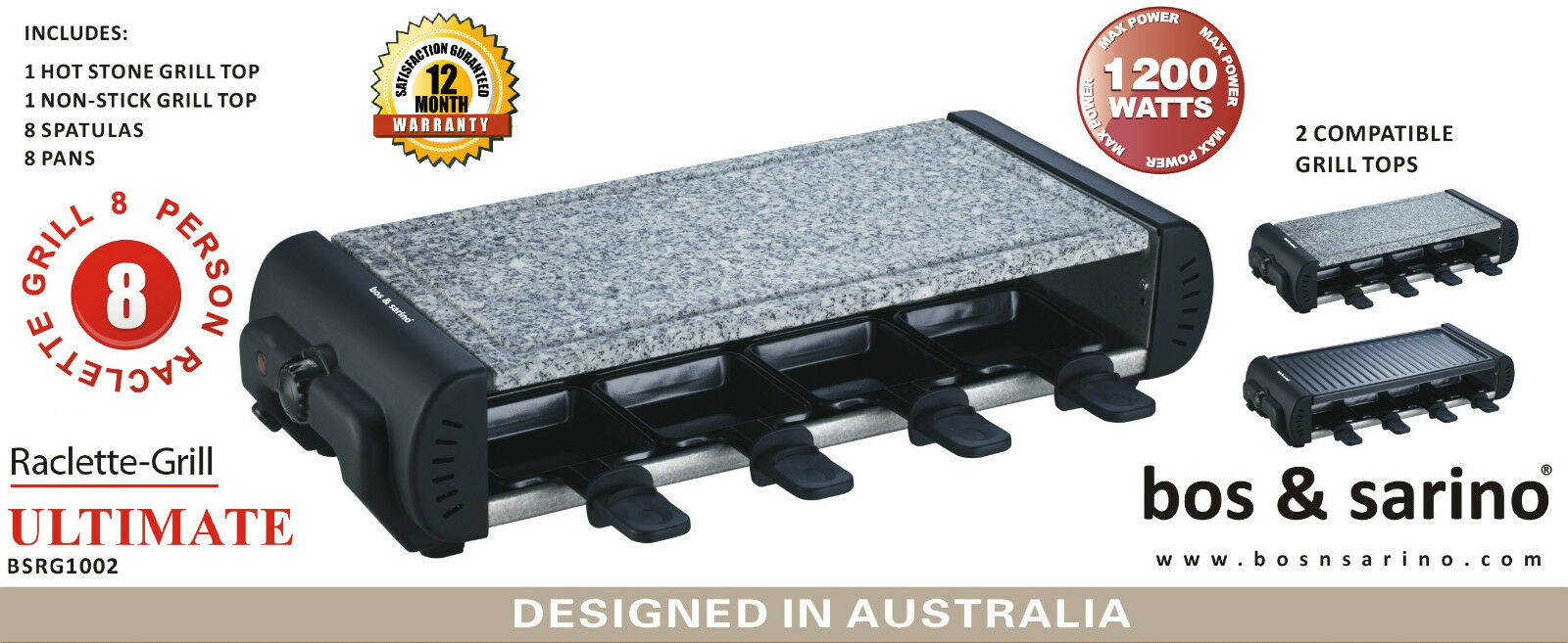 BOS & SARINO Swiss Raclette Grill Hot Stone Party Raclet BBQ 8 People 2 CookTop