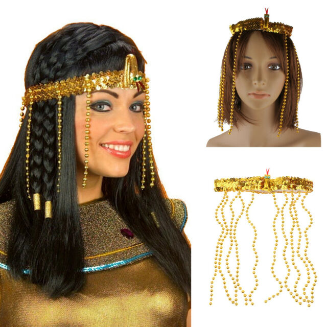 Adult Cleopatra Beaded Headpiece Gold Hat Beads Egyptian Fancy Dress Accessory