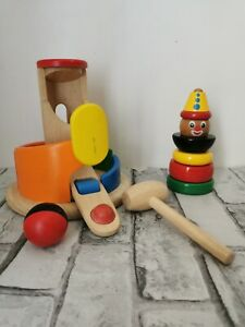 Plan-Toys-Wooden-Ball-And-Hammer-game-Wooden-Clown-Stacker