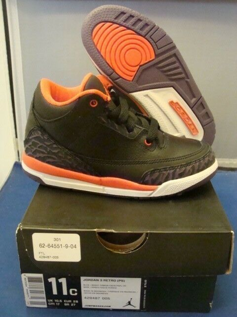 Brand New Nike Jordan Retro 3 Bright Crimson Size 11C NEW Boys PS