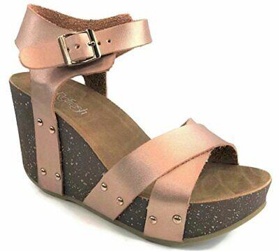 New Women Refresh Elva-18 Faux Suede Rhinestone Cutout Platform Wedge Sandal