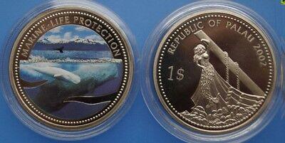 Well-Educated 2002 Palau Large Proof Color $1 Beluga/bare Breasted Mermaid 100% Original